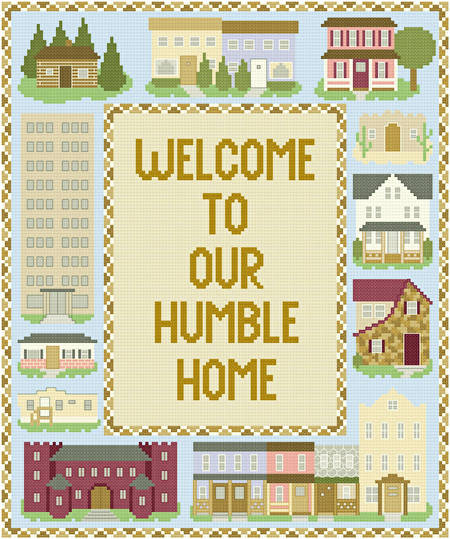 cross stitch pattern Homes Sampler (10x12)