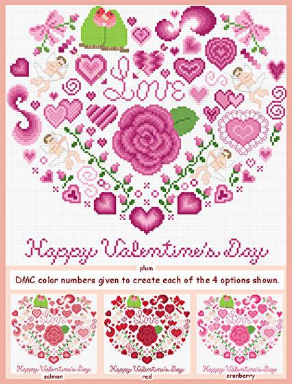 cross stitch pattern Happy Valentine's Day