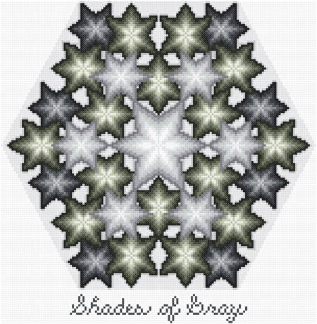 cross stitch pattern Kaliedoscope - Shades of Gray