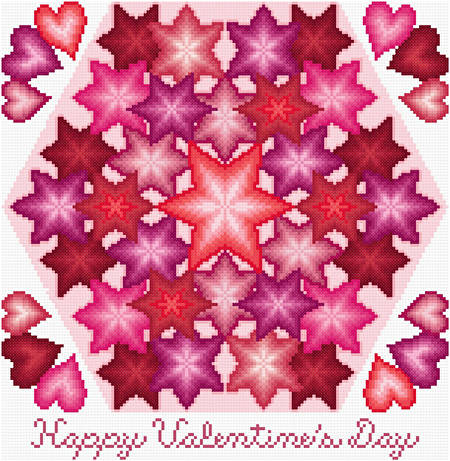 cross stitch pattern Kaleidoscope - Valentine's Day