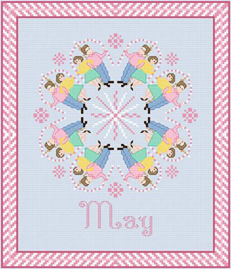 cross stitch pattern May - May Pole Dancing