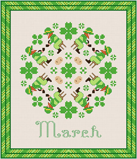 cross stitch pattern March - St. Patricks Day