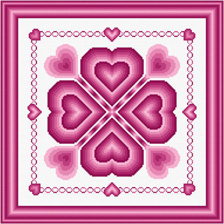 cross stitch pattern Romantic Hearts