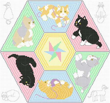 cross stitch pattern Smitten Kittens