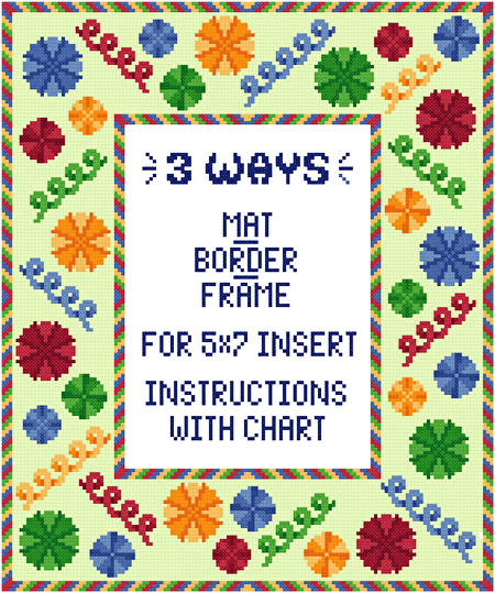 cross stitch pattern Surprise Mat/Border/Frame (5 x 7 insert)