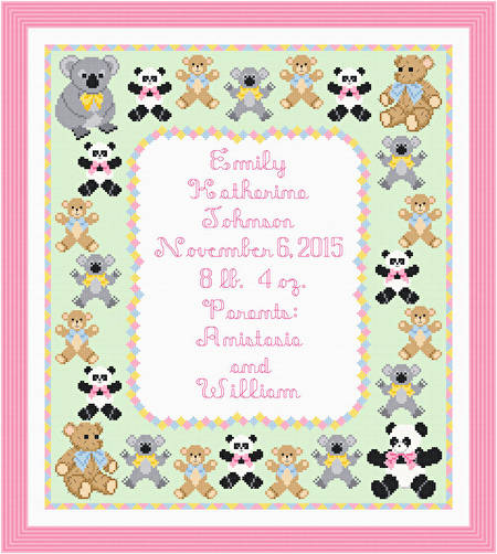 cross stitch pattern Teddy Birth Announcement - 14 x 16