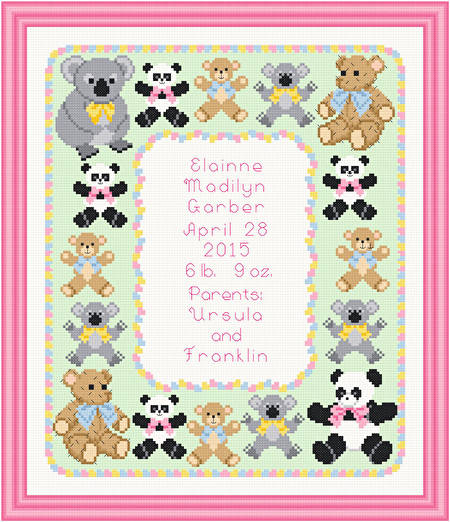 cross stitch pattern Teddy Birth Announcement - 10x12