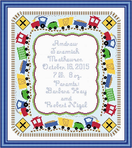 cross stitch pattern Train Birth Announcement - 14 x 16