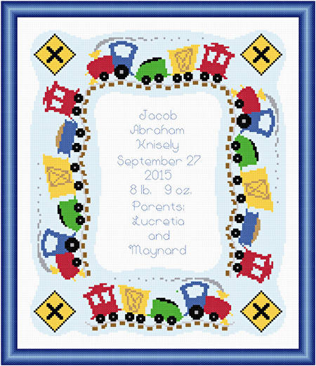 cross stitch pattern Train Birth Announcement - 10x12