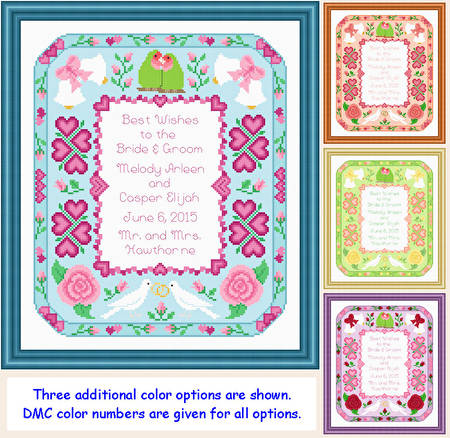 cross stitch pattern Wedding Announcement (10x12)