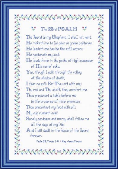 cross stitch pattern The 23rd Psalm
