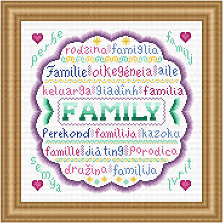 cross stitch pattern Family Around the World