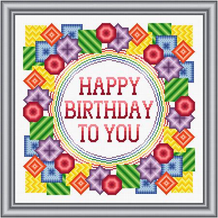 cross stitch pattern Happy Birthday - Bold