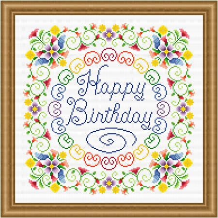 cross stitch pattern Happy Birthday - Flowery