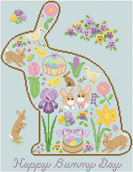 cross stitch pattern Happy Bunny Day