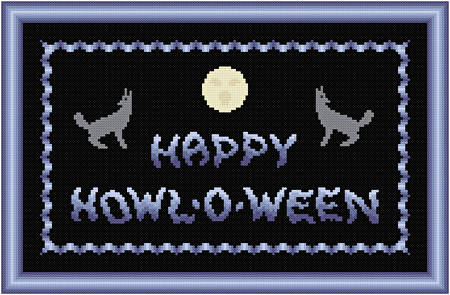 cross stitch pattern Happy Howl-o-ween