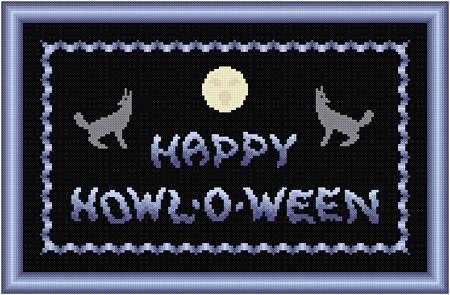 cross stitch pattern Happy Howl-o-ween
