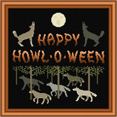 cross stitch pattern Howl-O-Ween Wolves