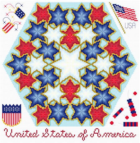 cross stitch pattern Kaleidoscope - USA Patriotism