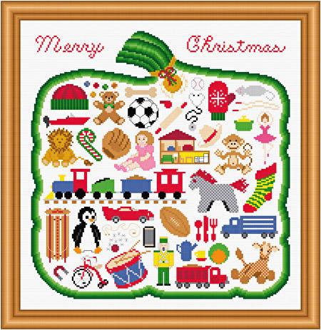 cross stitch pattern Merry Christmas