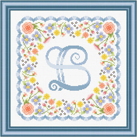 cross stitch pattern Monogram in Flowers - B
