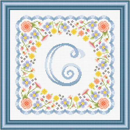 cross stitch pattern Monogram in Flowers - C
