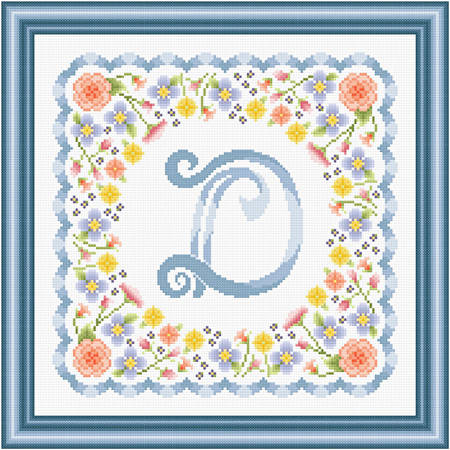 cross stitch pattern Monogram in Flowers - D