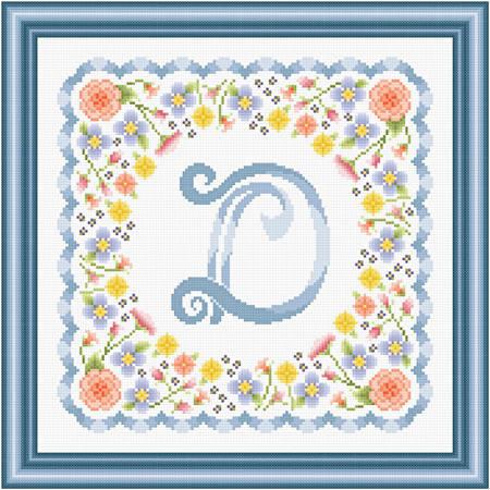 cross stitch pattern Monogram in Flowers - D