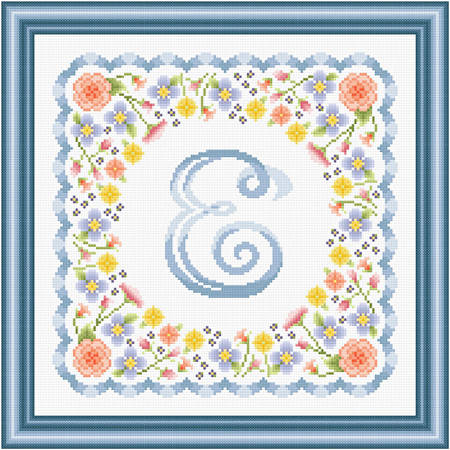 cross stitch pattern Monogram in Flowers - E