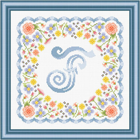 cross stitch pattern Monogram in Flowers - F