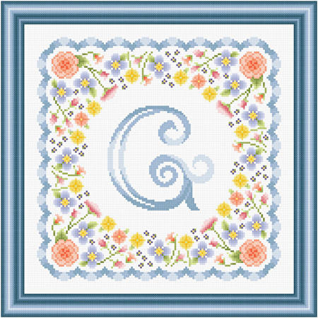 cross stitch pattern Monogram in Flowers - G