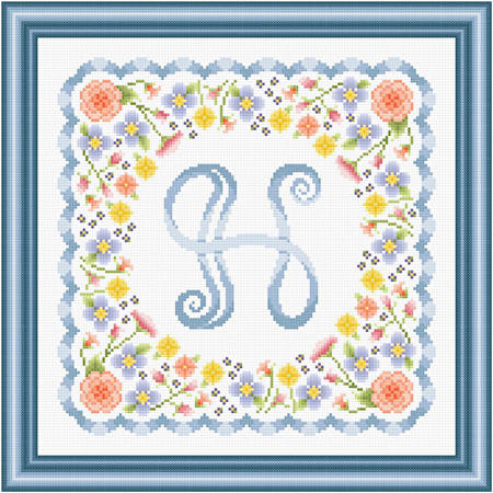 cross stitch pattern Monogram in Flowers - H