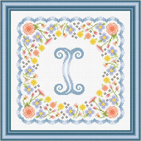 cross stitch pattern Monogram in Flowers - I