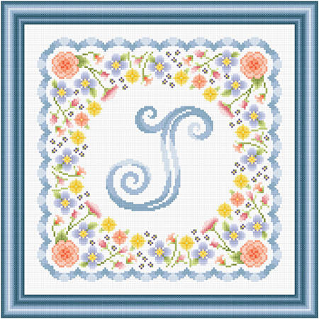 cross stitch pattern Monogram in Flowers - J