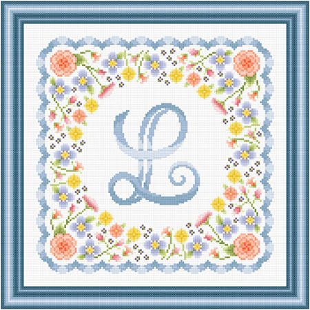 cross stitch pattern Monogram in Flowers - L