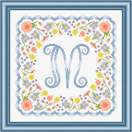cross stitch pattern Monogram in Flowers - M