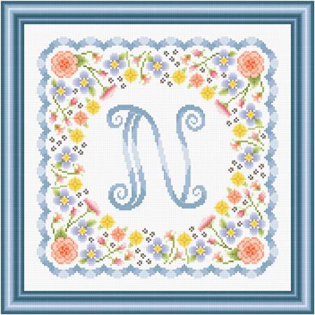 cross stitch pattern Monogram in Flowers - N