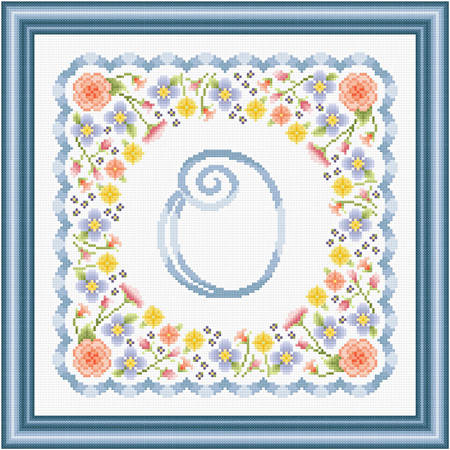 cross stitch pattern Monogram in Flowers - O