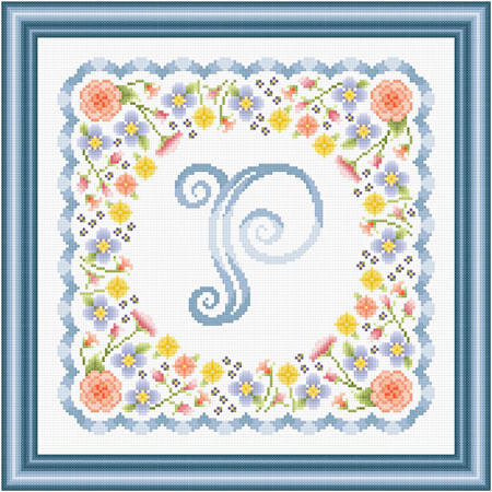 cross stitch pattern Monogram in Flowers - P
