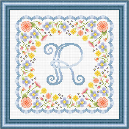 cross stitch pattern Monogram in Flowers - R