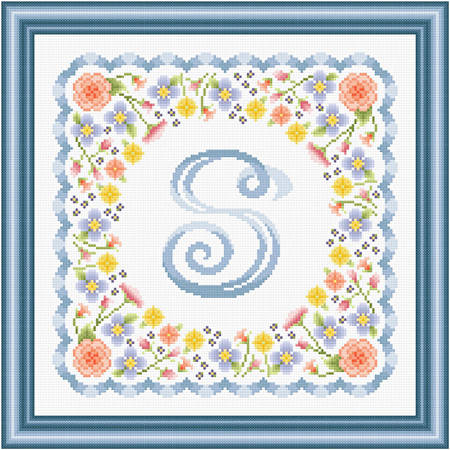 cross stitch pattern Monogram in Flower - S