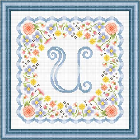 cross stitch pattern Monogram in Flowers - U