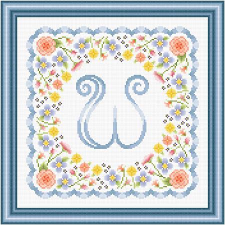 cross stitch pattern Monogram in Flowers - W