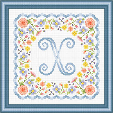 cross stitch pattern Monogram in Flowers - X