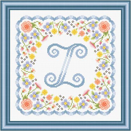 cross stitch pattern Monogram in Flowers - Z