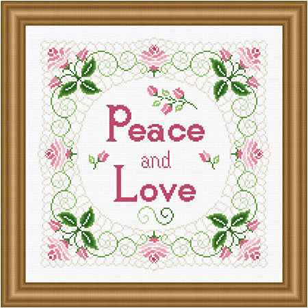 cross stitch pattern Peace, Love and Lace