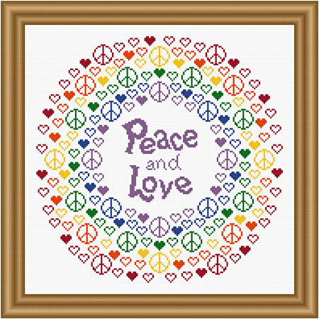 cross stitch pattern Peace and Love