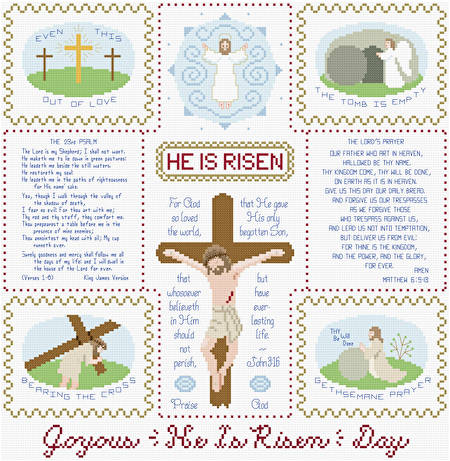 cross stitch pattern Joyous He Is Risen Day