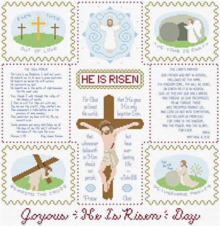 cross stitch pattern Joyous He Is Risen Day