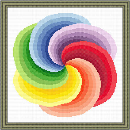 cross stitch pattern Spiraling Rainbow Pinwheel